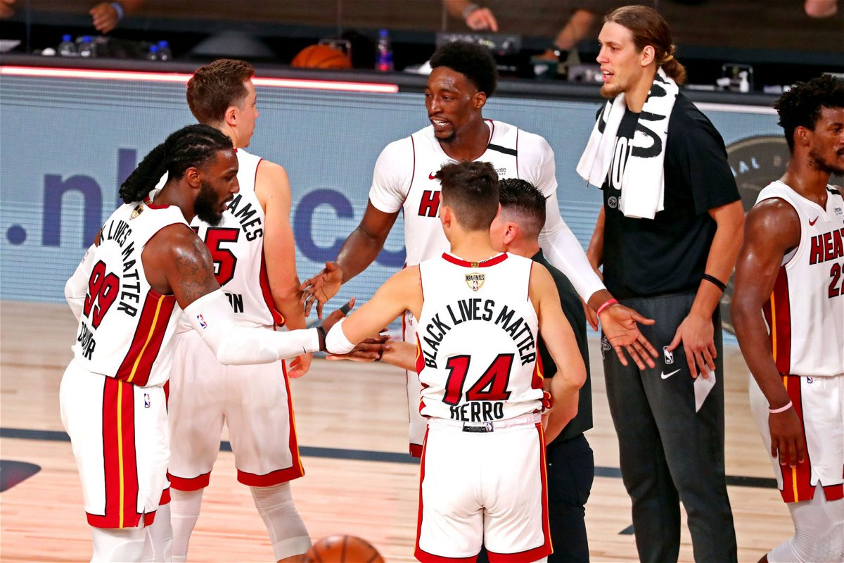 Miami Heat celebrate after beating the Los Angeles Lakers in game five of the 2020 NBA Finals