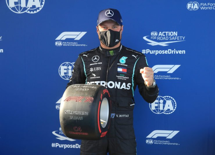 Mercedes' Valtteri Bottas celebrates his pole at Eifel Grand Prix 2020