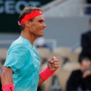 Rafael Nadal celebrates his win in French Open 2020