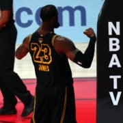 Los Angeles Lakers forward LeBron James celebrates his shot during NBA Finals 2020