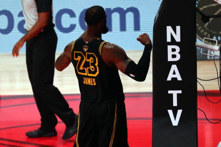 Los Angeles Lakers forward LeBron James celebrates his shot during NBA Finals 2020