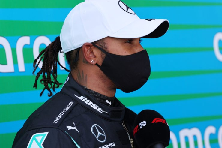 Mercedes' Lewis Hamilton during an interview after qualifying at Eifel Grand Prix 2020