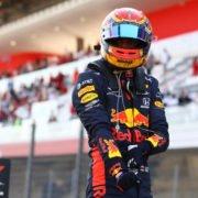 Red Bull's Alex Albon following his podium finish at Mugello