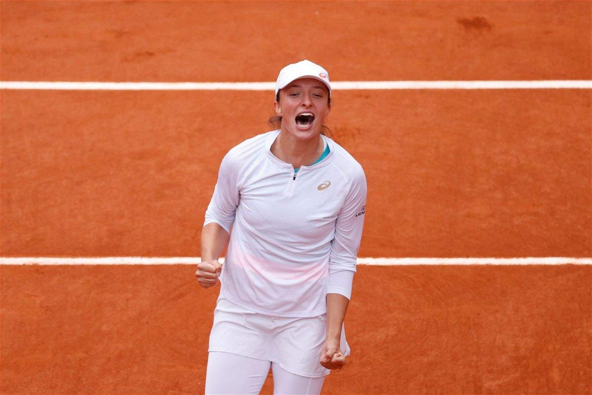 Iga Swiatek celebrates after winning French Open 2020