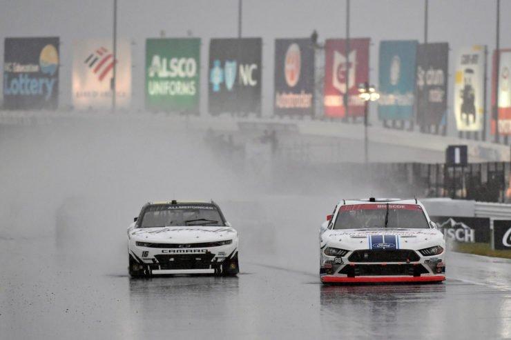 AJ Allmendinger races in the rain in the NASCAR Xfinity Series race at Charlotte Roval