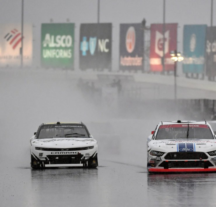 Drivers race in the rain in the NASCAR Xfinity Series race at Charlotte Roval
