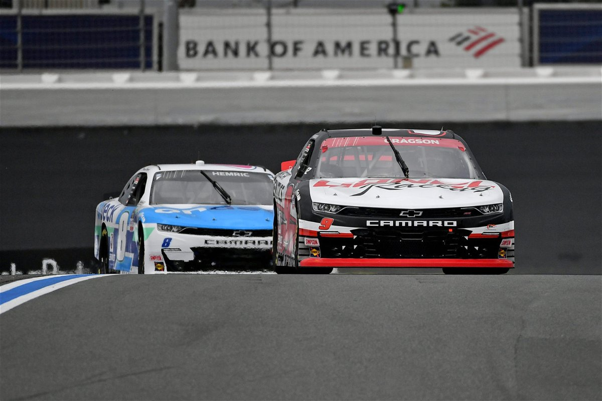 Noah Gragson and Daniel Hemric in action in the NASCAR Xfinity Series