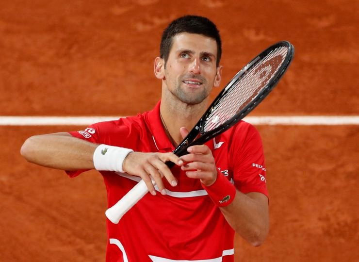 Novak Djokovic celebrates after his semifinal win in French Open 2020