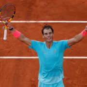 Rafael Nadal celebrates after stepping into the final of French Open 2020