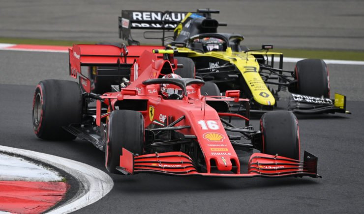 Daniel Ricciardo and Charles Leclerc do battle at the Eifel Grand Prix