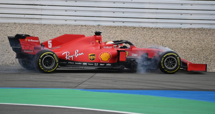 Sebastian Vettel slides off the track at the Eifel GP
