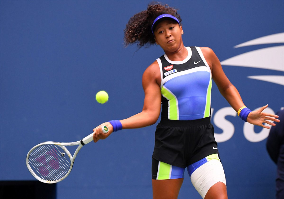 Naomi Osaka in action in US Open 2020 with a bandaged hamstring