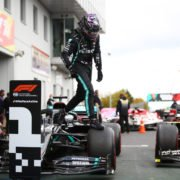Lewis Hamilton celebrates his Eifel GP race win