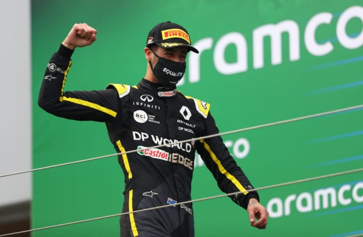 Daniel Ricciardo of Renault celebrates after finishing P3 at the Eifel Grand Prix