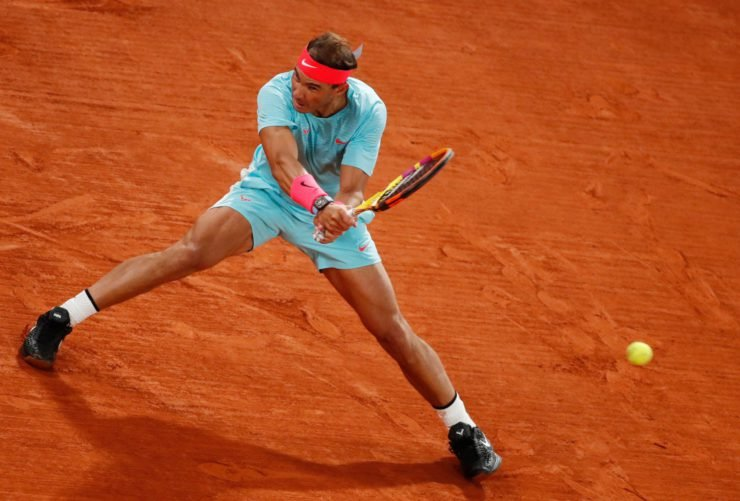 Rafael Nadal in action in the French Open 2020 final