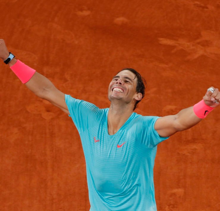 Rafael Nadal celebrates at French Open 2020