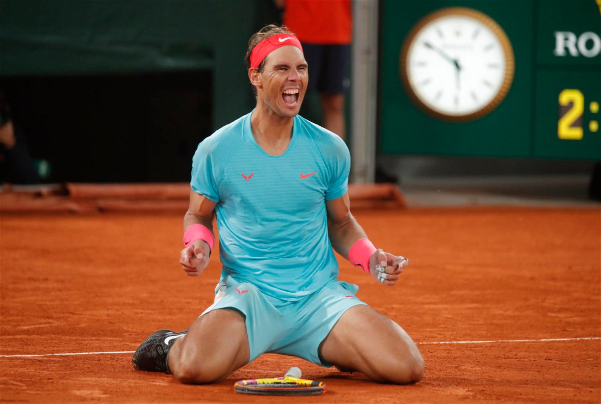 Rafael Nadal celebrates at French Open 2020