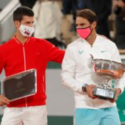 Rafael Nadal and Novak Djokovic with their trophies at French Open 2020