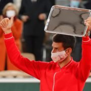 Novak Djokovic with his runners up trophy in the French Open 2020