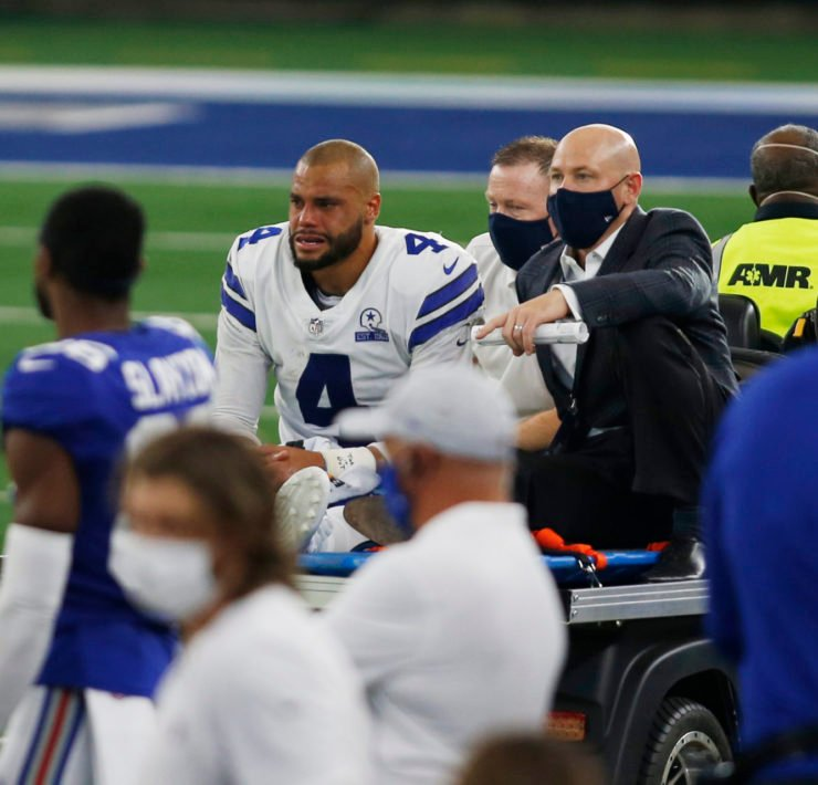 Dallas Cowboys quarterback Dak Prescott carted off after suffering an ankle fracture against New York Giants in Week Five.