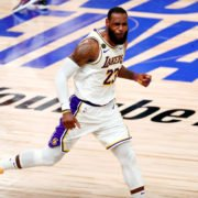 Lakers' LeBron James celebrating in 2020 NBA Finals
