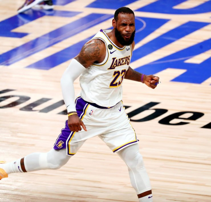 Lakers' LeBron James celebrating in 2020 NBA Finals