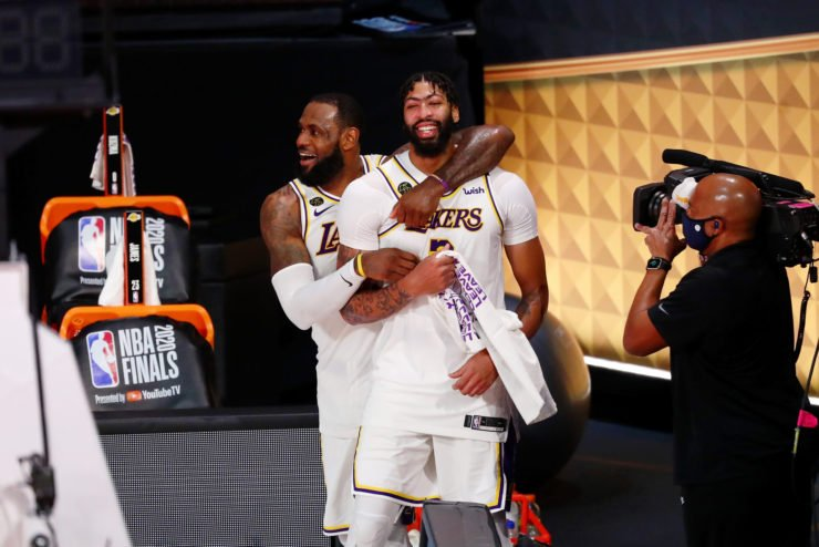 Lakers' Anthony Davis and LeBron James celebrating iin 2020 NBA Finals