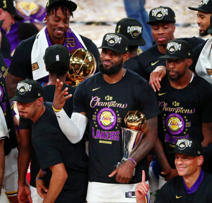 LeBron James and the Los Angeles Lakers celebrating in 2020 NBA Finals