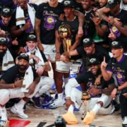 Los Angeles Lakers pose with the NBA title