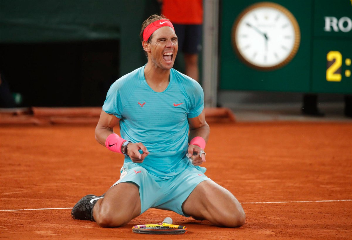 Rafael Nadal celebrates his win at French Open 2020