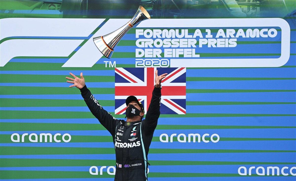 Mercedes' Lewis Hamilton celebrates his win at the Eifel Grand Prix 2020