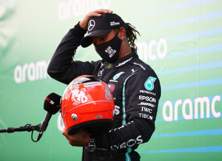 Mercedes' Lewis Hamilton during an interview with the Michael Schumacher's helmet at the Eifel Grand Prix 2020