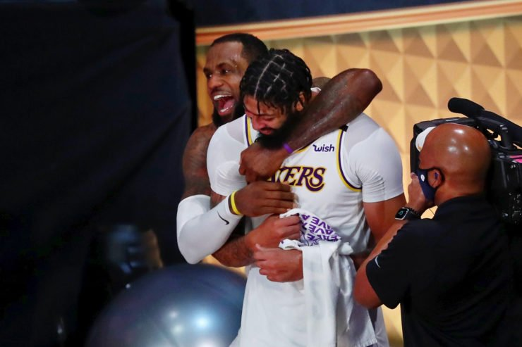 Lakers Forwards LeBron James and Anthony Davis share a moment as Lakers win the 2020 NBA championship