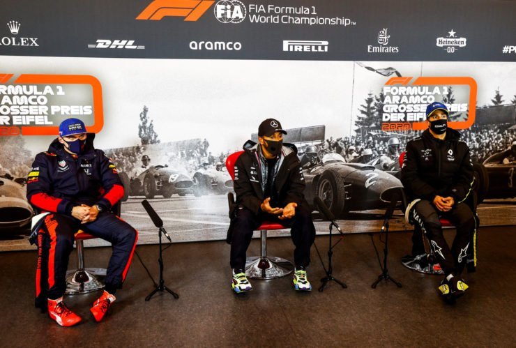 Daniel Ricciardo along with Lewis Hamilton and Max Verstappen in the Eifel GP Press Conference