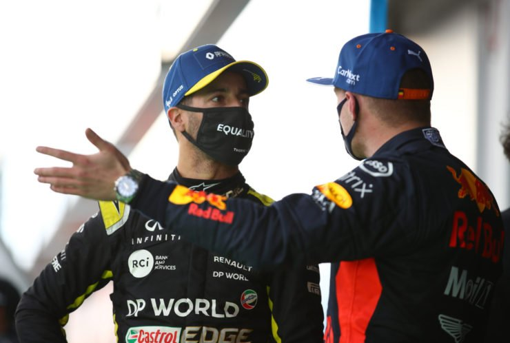 Renault's Daniel Ricciardo speaks with second placed Red Bull's Max Verstappen after the race at the Eifel Grand Prix 2020