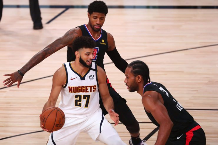 Clippers' Paul George and Kawhi Leonard against Nuggets' Jamal Murray