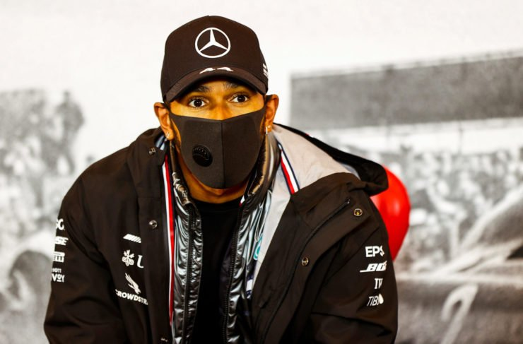 Mercedes' Lewis Hamilton during the press conference after the win at the Eifel Grand Prix