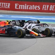 Red Bull's Alexander Albon and AlphaTauri's Pierre Gasly in action during the race