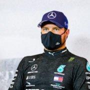 Mercedes' Valtteri Bottas during a press conference after qualifying at Eifel Grand Prix 2020