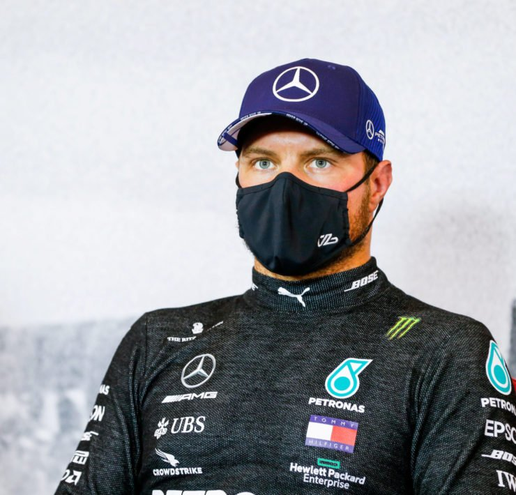 Mercedes' Valtteri Bottas during a press conference after qualifying at Eifel Grand Prix 2020