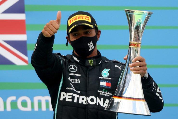 Lewis Hamilton celebrates his Eifel GP victory