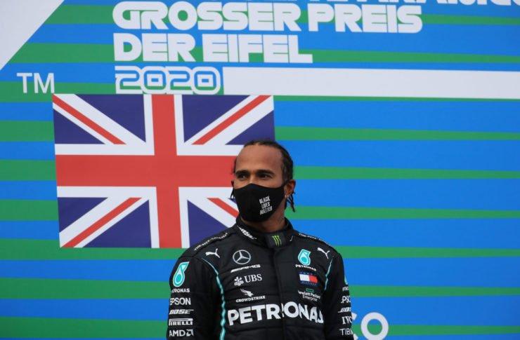 Lewis Hamilton during the Eifel GP podium