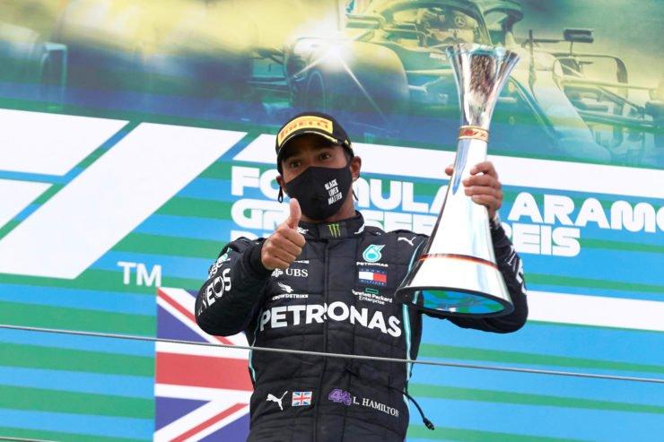 Lewis Hamilton celebrates his Eifel GP win