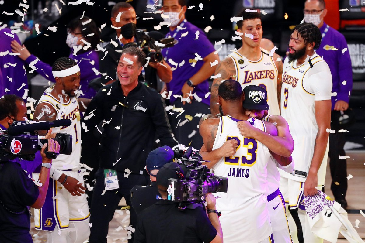 Los Angeles Lakers celebrate after winning the 2020 NBA title
