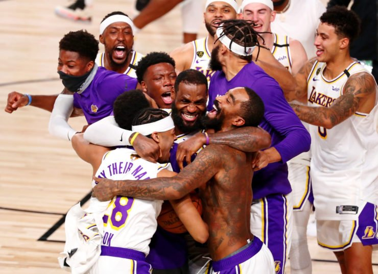 The Los Angeles Lakers celebrate their win over the Miami Heat after game six of the 2020 NBA Finals