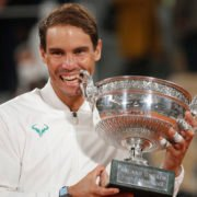 Rafael Nadal poses with the French Open 2020 after defeating Novak Djokovic