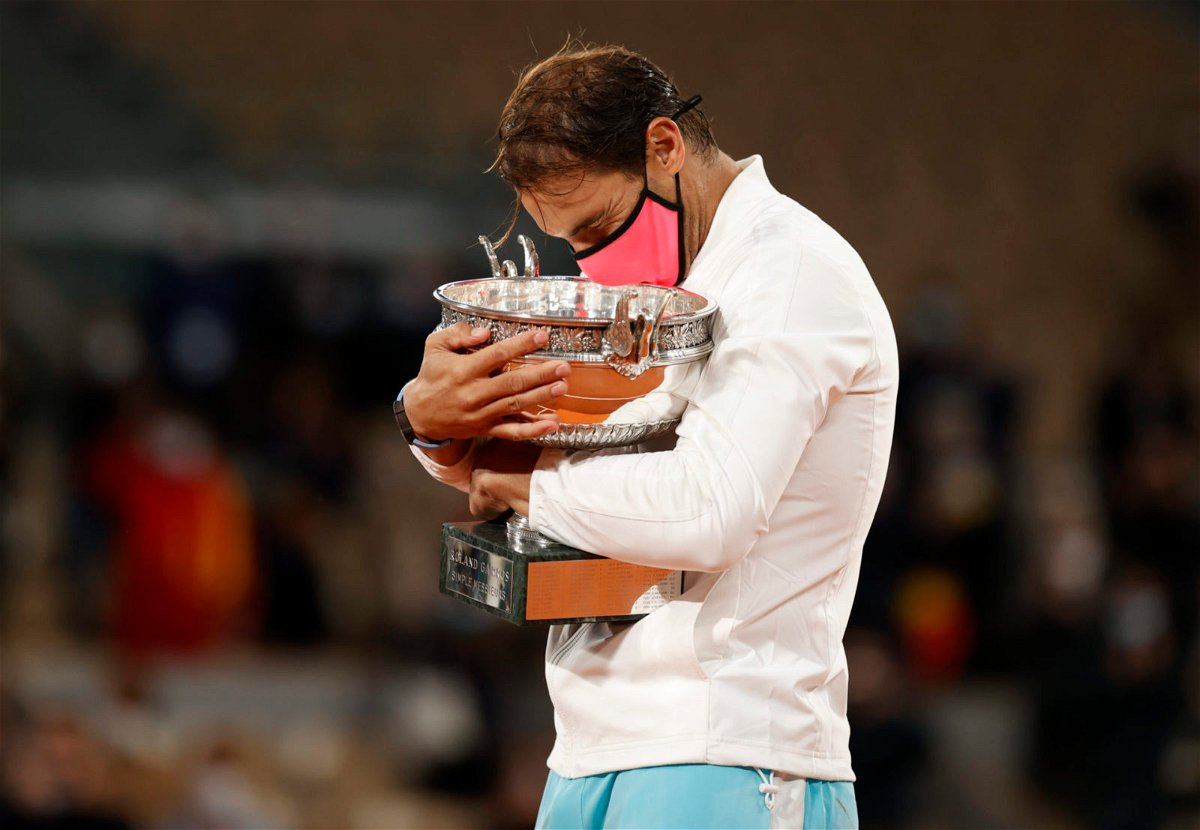 Rafael Nadal celebrates with his French Open 2020 trophy