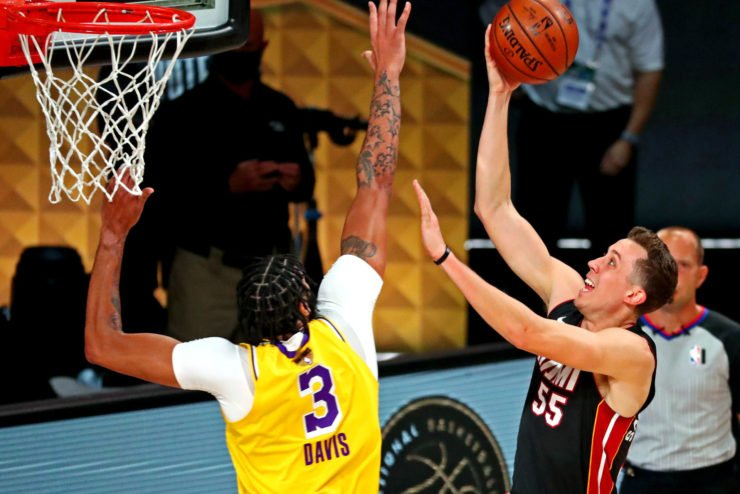 Miami Heat guard Duncan Robinson against Anthony Davis of Lakers