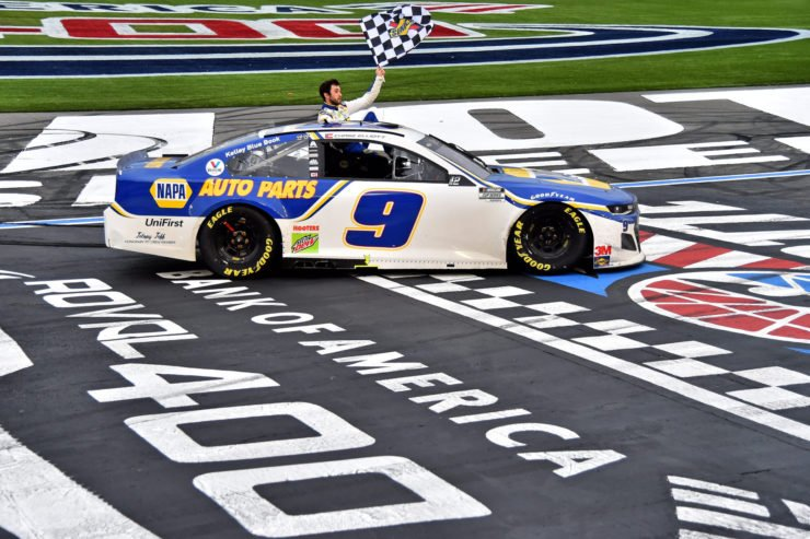 Chase Elliott celebrates after winning the Bank of America Roval 400 race