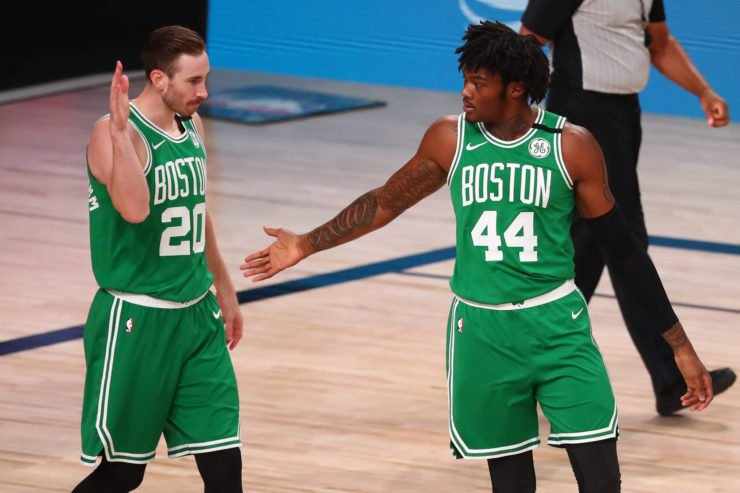 Boston Celtics players Robert Williams and Gordon Hayward